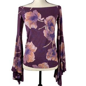 We The Free Off Shoulder Bell Sleeve Floral Top